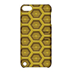Golden 3d Hexagon Background Apple Ipod Touch 5 Hardshell Case With Stand by Amaryn4rt