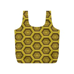 Golden 3d Hexagon Background Full Print Recycle Bags (s)  by Amaryn4rt