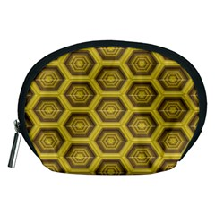 Golden 3d Hexagon Background Accessory Pouches (medium)  by Amaryn4rt