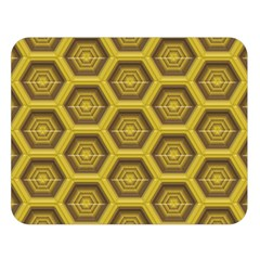Golden 3d Hexagon Background Double Sided Flano Blanket (large)  by Amaryn4rt