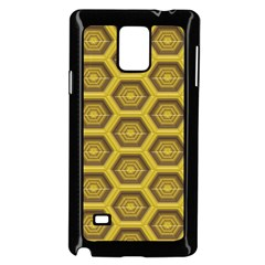 Golden 3d Hexagon Background Samsung Galaxy Note 4 Case (black) by Amaryn4rt
