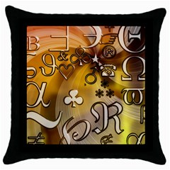 Symbols On Gradient Background Embossed Throw Pillow Case (black) by Amaryn4rt