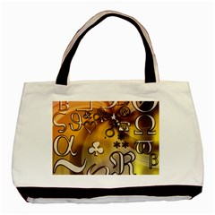 Symbols On Gradient Background Embossed Basic Tote Bag by Amaryn4rt