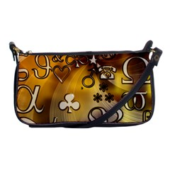 Symbols On Gradient Background Embossed Shoulder Clutch Bags by Amaryn4rt