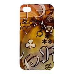 Symbols On Gradient Background Embossed Apple Iphone 4/4s Premium Hardshell Case