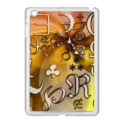 Symbols On Gradient Background Embossed Apple Ipad Mini Case (white) by Amaryn4rt