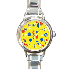 Circle Triangle Red Blue Yellow White Sign Round Italian Charm Watch by Alisyart