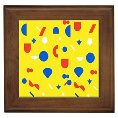 Circle Triangle Red Blue Yellow White Sign Framed Tiles
