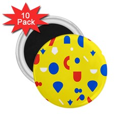 Circle Triangle Red Blue Yellow White Sign 2 25  Magnets (10 Pack)