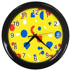 Circle Triangle Red Blue Yellow White Sign Wall Clocks (black) by Alisyart
