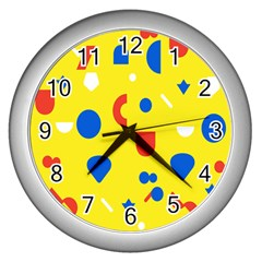 Circle Triangle Red Blue Yellow White Sign Wall Clocks (silver)