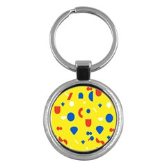 Circle Triangle Red Blue Yellow White Sign Key Chains (round)  by Alisyart