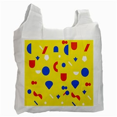 Circle Triangle Red Blue Yellow White Sign Recycle Bag (one Side)