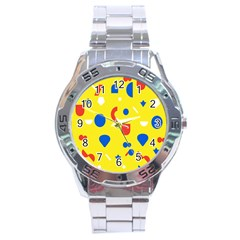 Circle Triangle Red Blue Yellow White Sign Stainless Steel Analogue Watch by Alisyart