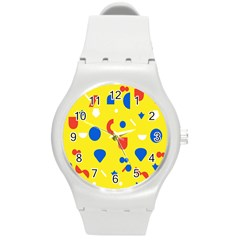 Circle Triangle Red Blue Yellow White Sign Round Plastic Sport Watch (m) by Alisyart