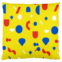 Circle Triangle Red Blue Yellow White Sign Large Cushion Case (one Side) by Alisyart