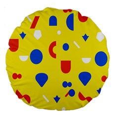 Circle Triangle Red Blue Yellow White Sign Large 18  Premium Round Cushions