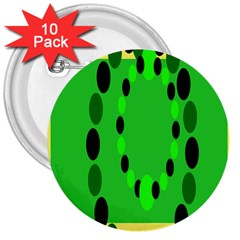 Circular Dot Selections Green Yellow Black 3  Buttons (10 Pack)  by Alisyart