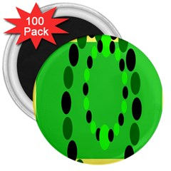 Circular Dot Selections Green Yellow Black 3  Magnets (100 Pack) by Alisyart