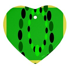 Circular Dot Selections Green Yellow Black Heart Ornament (two Sides) by Alisyart