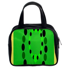 Circular Dot Selections Green Yellow Black Classic Handbags (2 Sides) by Alisyart