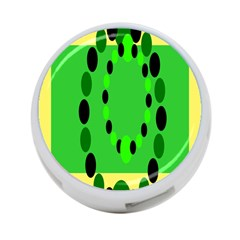 Circular Dot Selections Green Yellow Black 4 Port Usb Hub (one Side) by Alisyart