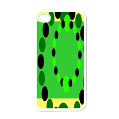 Circular Dot Selections Green Yellow Black Apple Iphone 4 Case (white) by Alisyart