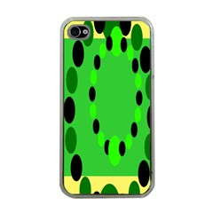 Circular Dot Selections Green Yellow Black Apple Iphone 4 Case (clear) by Alisyart