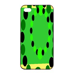 Circular Dot Selections Green Yellow Black Apple Iphone 4/4s Seamless Case (black) by Alisyart