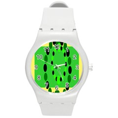 Circular Dot Selections Green Yellow Black Round Plastic Sport Watch (m)