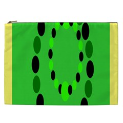Circular Dot Selections Green Yellow Black Cosmetic Bag (xxl)  by Alisyart