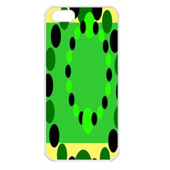 Circular Dot Selections Green Yellow Black Apple Iphone 5 Seamless Case (white)