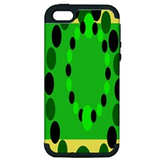 Circular Dot Selections Green Yellow Black Apple Iphone 5 Hardshell Case (pc+silicone)