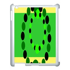 Circular Dot Selections Green Yellow Black Apple Ipad 3/4 Case (white)