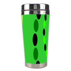 Circular Dot Selections Green Yellow Black Stainless Steel Travel Tumblers by Alisyart