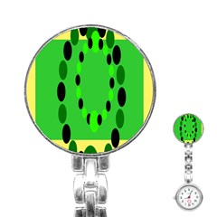 Circular Dot Selections Green Yellow Black Stainless Steel Nurses Watch by Alisyart