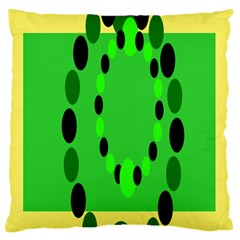 Circular Dot Selections Green Yellow Black Standard Flano Cushion Case (one Side) by Alisyart