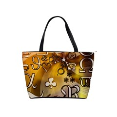 Symbols On Gradient Background Embossed Shoulder Handbags by Amaryn4rt