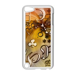 Symbols On Gradient Background Embossed Apple Ipod Touch 5 Case (white) by Amaryn4rt