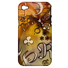 Symbols On Gradient Background Embossed Apple Iphone 4/4s Hardshell Case (pc+silicone) by Amaryn4rt
