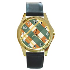 Autumn Plaid Round Gold Metal Watch by Alisyart
