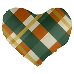 Autumn Plaid Large 19  Premium Heart Shape Cushions