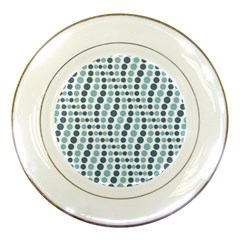 Circle Blue Grey Line Waves Porcelain Plates by Alisyart