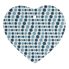 Circle Blue Grey Line Waves Heart Ornament (two Sides) by Alisyart