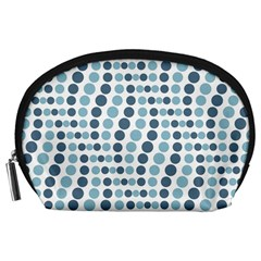 Circle Blue Grey Line Waves Accessory Pouches (large)  by Alisyart