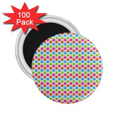 Colorful Floral Seamless Red Blue Green Pink 2 25  Magnets (100 Pack)