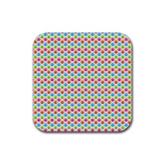 Colorful Floral Seamless Red Blue Green Pink Rubber Coaster (square)