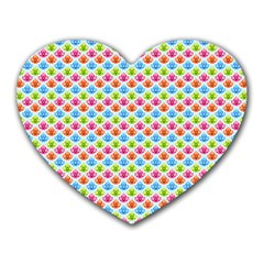 Colorful Floral Seamless Red Blue Green Pink Heart Mousepads by Alisyart