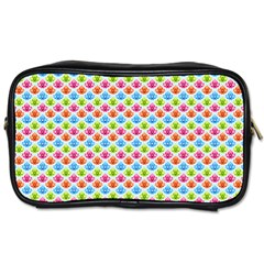 Colorful Floral Seamless Red Blue Green Pink Toiletries Bags 2 Side by Alisyart