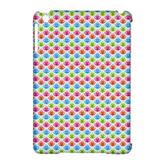 Colorful Floral Seamless Red Blue Green Pink Apple Ipad Mini Hardshell Case (compatible With Smart Cover)